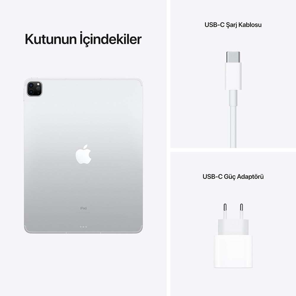 iPad Pro 12.9 inç Wi‑Fi + Cellular 512GB Gümüş MHR93TU/A