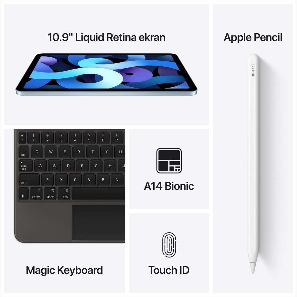 iPad Air 10.9 inç Wi-Fi + Cellular 256GB Gök Mavisi MYH62TU/A