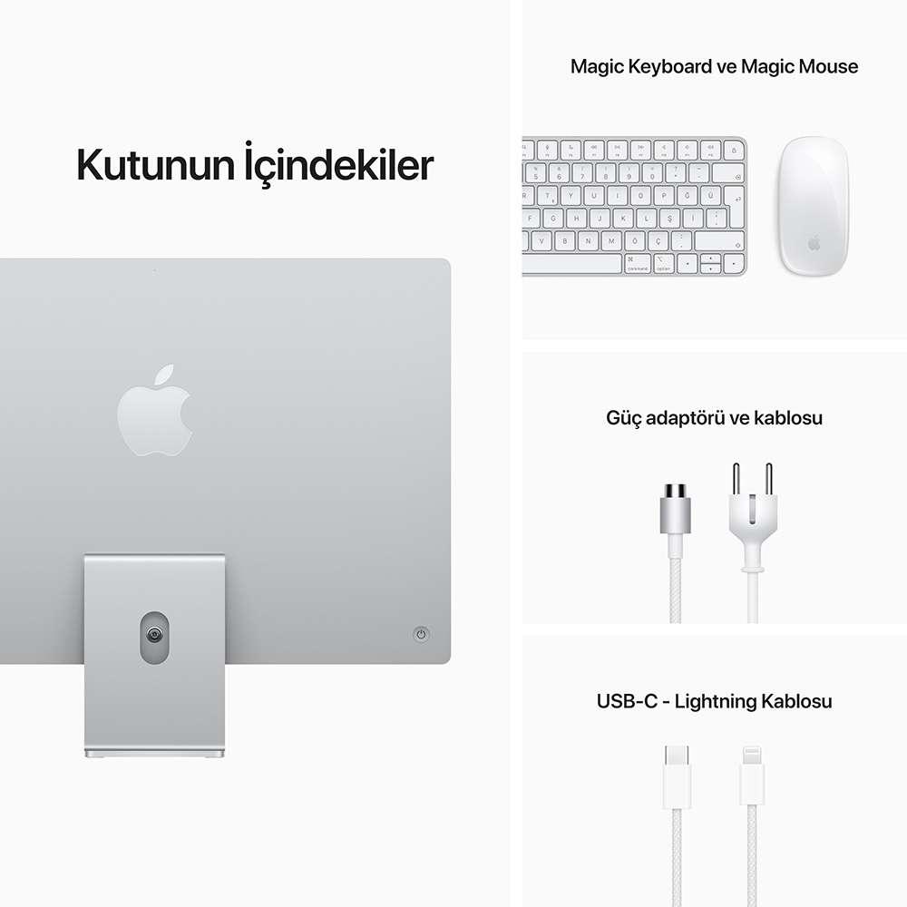 iMac 24 inç 4.5K M18C 8GB RAM 256GB SSD Gümüş MGTF3TU/A