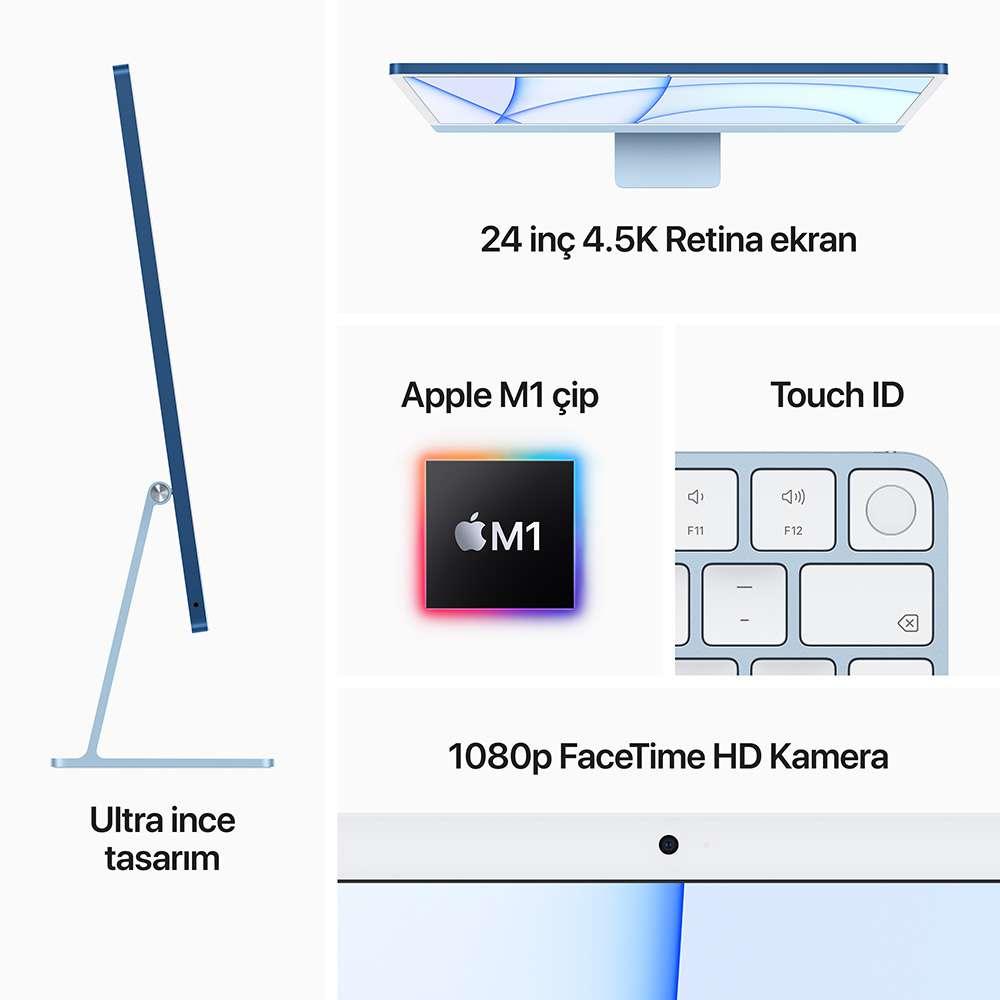 iMac 24 inç 4.5K M1 8C 8GB RAM 256GB SSD Mavi MGPK3TU/A