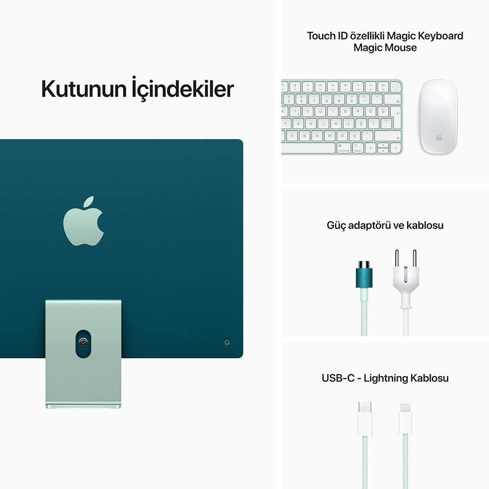 iMac 24 inç 4.5K M1 8C 8GB RAM 256GB SSD Yeşil MGPH3TU/A